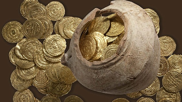 June 25, 2012: Gold coins uncovered in a buried potsherd at Apllonia National Park in Israel may be worth half a million dollars or more.